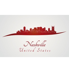 Nashville skyline in red vector