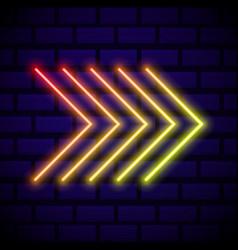 neon glowing arrow pointer on dark brick wall vector image