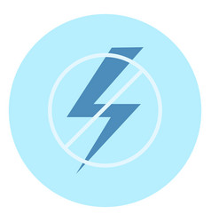 no electricity sign icon on blue background vector image