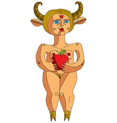 Nude woman with an apple graphic Eve concep vector image vector image