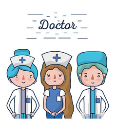 Nurser with doctor professional specialists vector