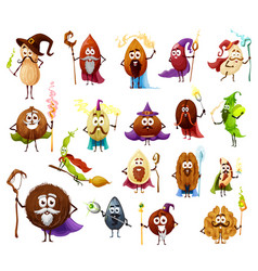 Nut seed and bean magicians wizard characters vector