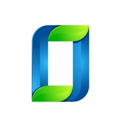 O letter leaves eco logo volume icon vector image
