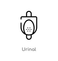 Outline urinal icon isolated black simple line vector