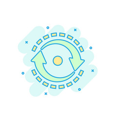 Oval with arrows icon in comic style consistency vector
