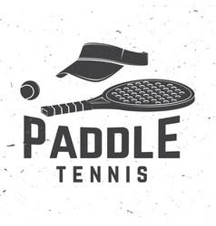 Paddle tennis badge emblem or sign vector