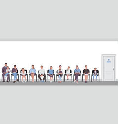Parents with children sitting on chairs vector