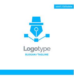 pen drawing art design draw blue solid logo vector image