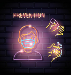 prevention covid19 19 icons neon light vector image