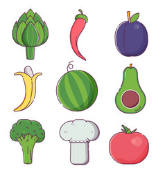 raw fruit sand vegetables icons vector image