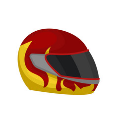 Red racing helmet with flame decal and black visor vector