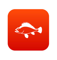 Rose fish sebastes norvegicus icon digital red vector