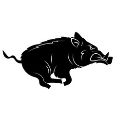 running wild boar black and white vector image