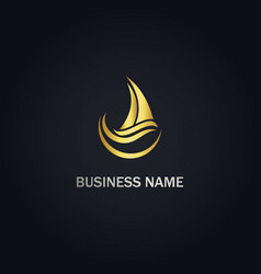 sailing boat wave ocean gold logo vector image