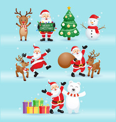 santa claus and friends for christmas day i vector image