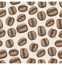 Seamless pattern of hand drawn coffee beans vector image