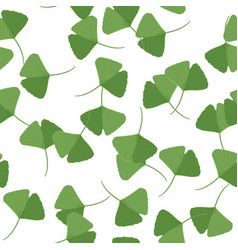 Seamless pattern with green ginkgo leaves natural vector
