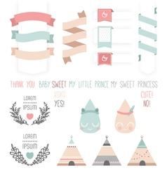 set cute ribbons labels droplet vector image
