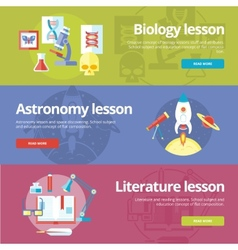 Set flat design concepts for biology astronomy vector