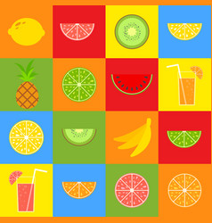 set of colored isolated apetitic fruits on a vector image