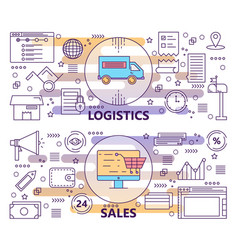 Set of modern thin line logistics and sales vector