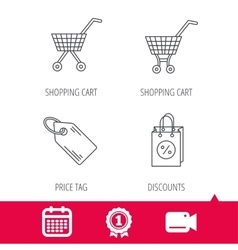 Shopping cart discounts bag and price tag icons vector