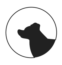 Silhouette of a dog head border collie vector image