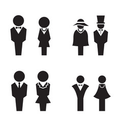 Silhouette wc restroom toilet icons set vector