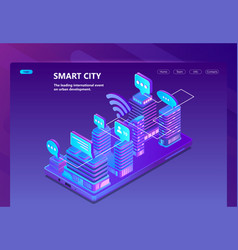 site with 3d isometric smart city vector image