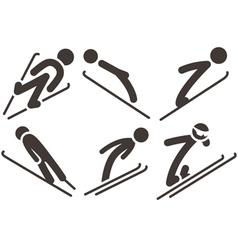 ski jumping icons vector image