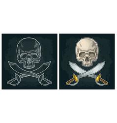 skull and crossed pirate sabers vintage engraving vector image