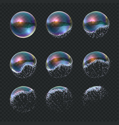 Soap bubble explode realistic water sphere vector