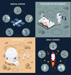 space journey isometric flowchart vector image