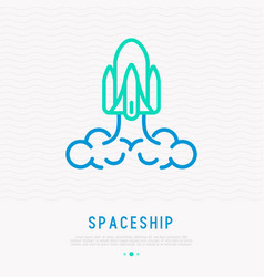 spaceship thin line icon vector image