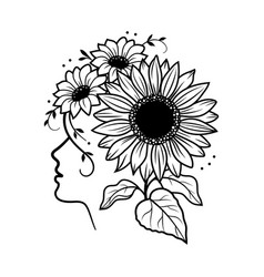sunflower silhouette a girl face and a vector image