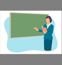 Teacher teaching in front class room vector