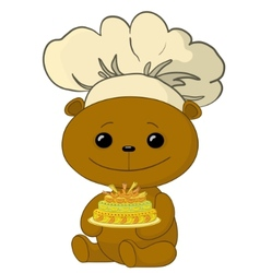 Teddy bear cook vector