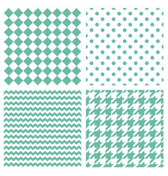 Tile pattern set with green print vector