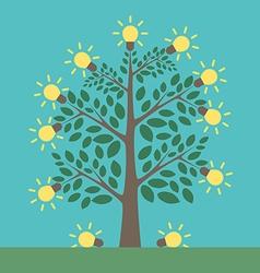 Tree and light bulbs vector