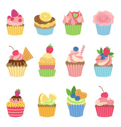 Vanilla muffins and cupcakes with chocolate vector