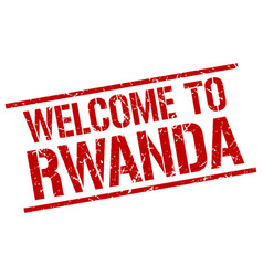 welcome to rwanda stamp vector image vector image