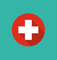 white cross icon with shadow in red circle vector image