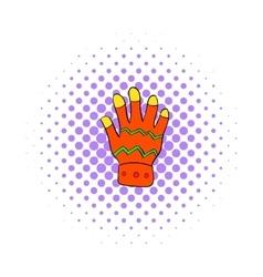 Winter glove icon comics style vector image