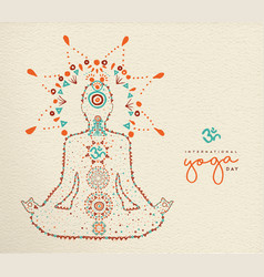 Yoga day card of lotus pose meditation vector