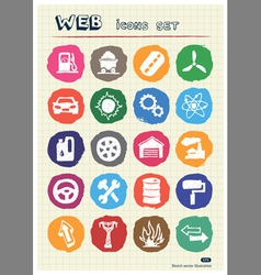 Auto and energy web icons set drawn by chalk vector image vector image