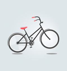 black bike with red seat isolated on grey vector image vector image