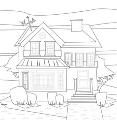 catroon house building coloring vector image vector image