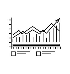 chart icon with bars and lines outline symbol for vector image vector image