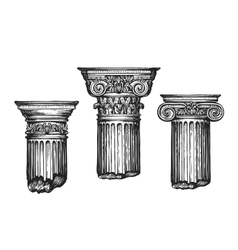 Hand drawn set architectural classical orders vector image vector image