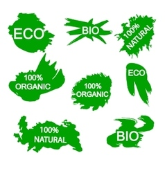 organic bio eco natural stickers vector image vector image
